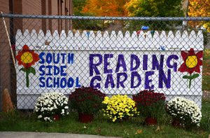 10/22/2015 Mike Orazzi | Staff The South Side School has a new reading garden that fifth graders and parents helped design.