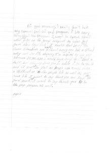 handwriteen graduation letter
